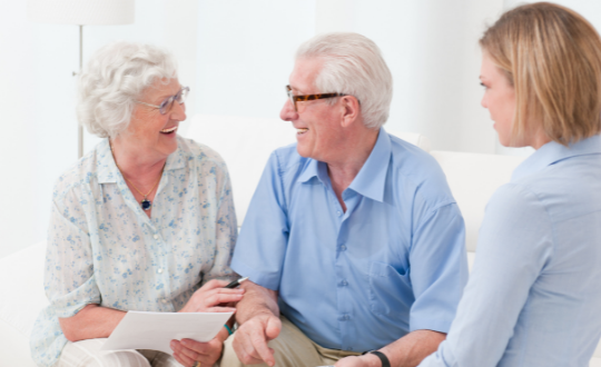 Senior couple taking out an equity release plan
